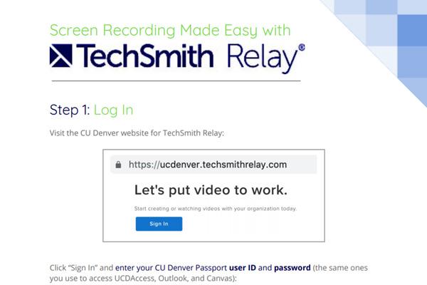 Preview of TechSmith Relay Webinar Handout
